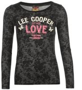 Lee Cooper Womens Textured T Shirt Cotton Casual Long Sleeve Crew Neck Top