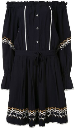 Comme Moi Bardot Dropped Waist Peasant Dress