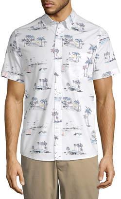 ST. JOHN'S BAY Stretch No Tuck Mens Short Sleeve Button-Front Shirt