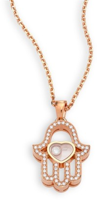 Chopard Happy Diamonds Pave Hamsa Hand Diamond & 18K Rose Gold Pendant Necklace
