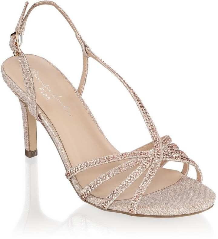 02289ded950 Paradox London Hattice Champagne Mid Heel Ankle Strap Caged Sandals