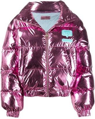 Chiara Ferragni Cropped Metallic Effect Puffer Jacket