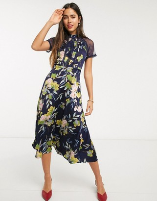 Liquorish a line lace detail midi dress in navy floral print