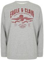Yours Clothing BadRhino Mens Plus Size Long Sleeve Eagle Claw Printed Vintage Sweatshirt