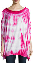 Neiman Marcus Poncho Tie-Sleeve Blouse, Pink