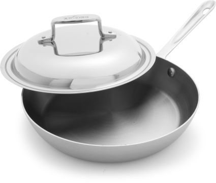 """All-Clad d5 Brushed Stainless Steel French Skillet with Lids, 9"""""""