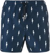 Neil Barrett lightning bolt print swim shorts