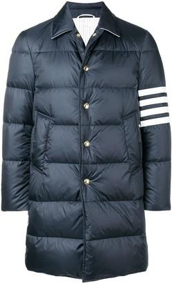 Thom Browne 4-bar Matte Nylon Bal Collar Overcoat