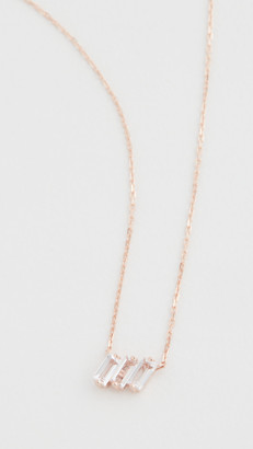 Suzanne Kalan 14k Rose Gold Three Baguette Pendant