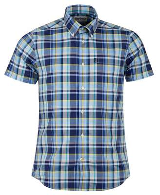Barbour Madras 3 Check Tailored Fit Shirt Colour: SKY, Size: SMALL