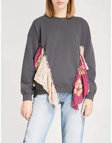 Free People She's Just Cute floral-trimmed jersey sweatshirt