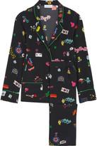 Mira Mikati Printed Silk Crepe De Chine Shirt And Pants - Black