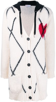 RED Valentino Knitted Heart Hooded Cardigan