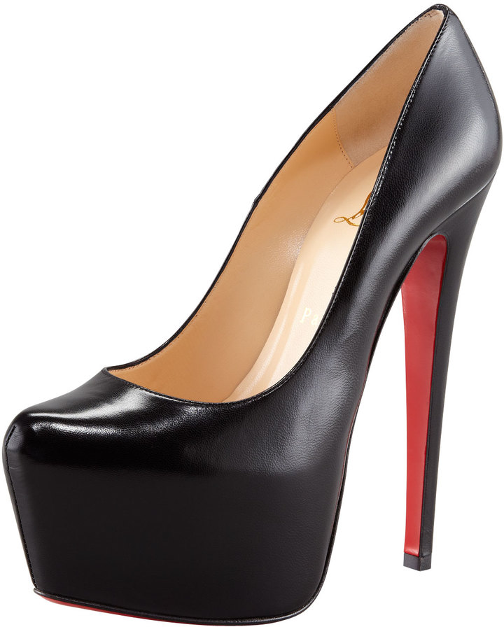 Christian Louboutin Daffodil Leather Platform Red Sole Pump