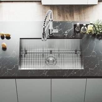 "Ludlow VIGO 30"" L x 19"" W Undermount Kitchen Sink with Faucet, Strainer, and Soap Dispenser VIGO"