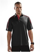 Tri-Mountain Men's Big And Tall Contrast Sports Golf Shirt, BLACK/RED, 4XL