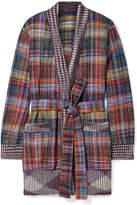 Missoni Belted Plaid Cotton-blend Flannel Cardigan - Purple