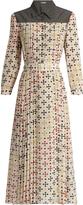 Bottega Veneta Bricks-print silk-crepe midi dress