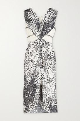 JALINE + Net Sustain Ava Open-back Printed Voile And Gauze Dress - Black