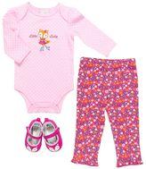 Baby Gear Animal Applique Bodysuit & Pants Set - Baby Girl