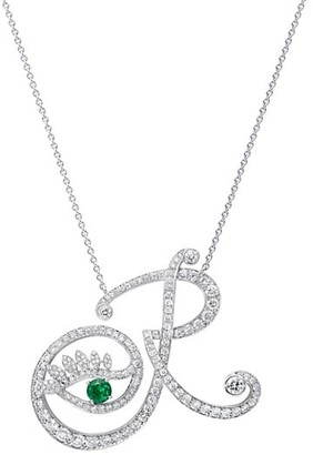 Tabayer Eye 18K White Gold, Diamond & Emerald Romantic Pendant Necklace