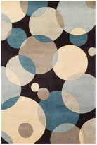 """Momeni Area Rug, Perspective Circles NW-37 Teal 3' 6"""" x 5' 6"""""""