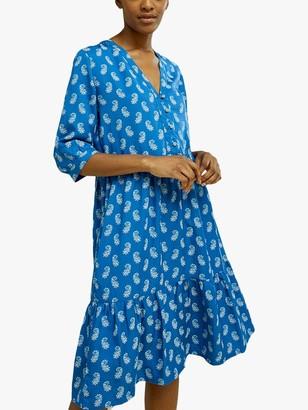 People Tree V&A Neha Floral Knee Length Dress, Blue