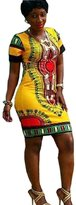 Lookatool Women Traditional African Print Dashiki Bodycon Short Sleeve Dress (XXL, )