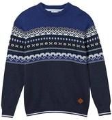 Cyrillus Blue and Navy Fairisle Jumper