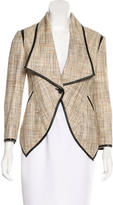 Yigal Azrouel Leather-Trimmed Tweed Blazer