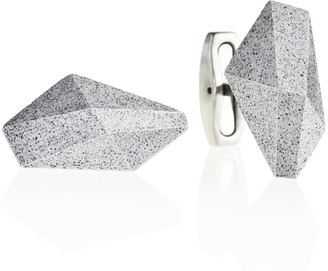 Gravelli Crystal Concrete & Surgical Steel Cufflinks Grey