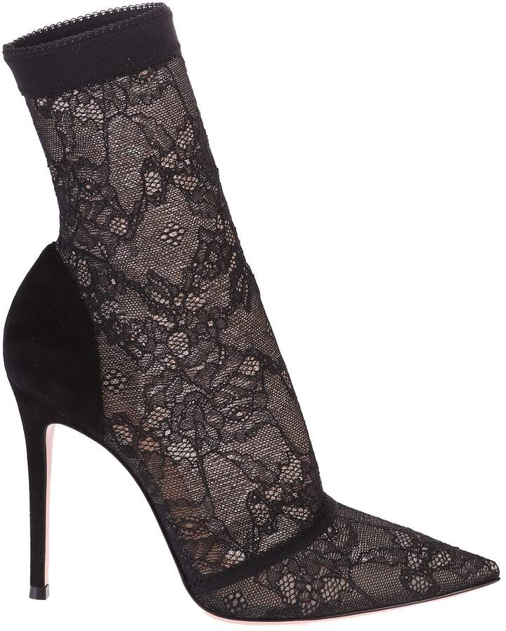 Gianvito Rossi Black Stretch Lace Ankle Boots