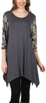 Aster Gray & Green Floral Sidetail Tunic - Plus Too