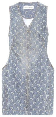 Marine Serre Printed denim minidress