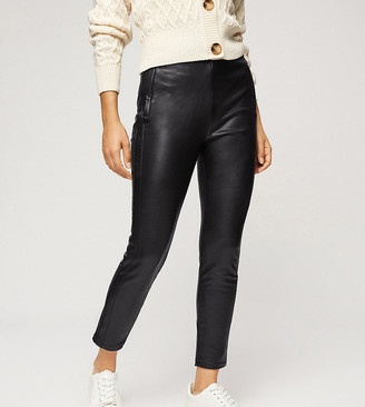 Miss Selfridge Petite faux leather legging in black