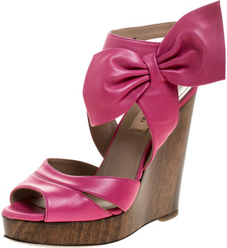 Valentino Pink Leather Bow Detail Ankle Strap Wedge Platform Sandals Size 36