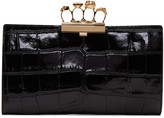 Alexander McQueen Black Croc-Embossed Knuckle Clutch