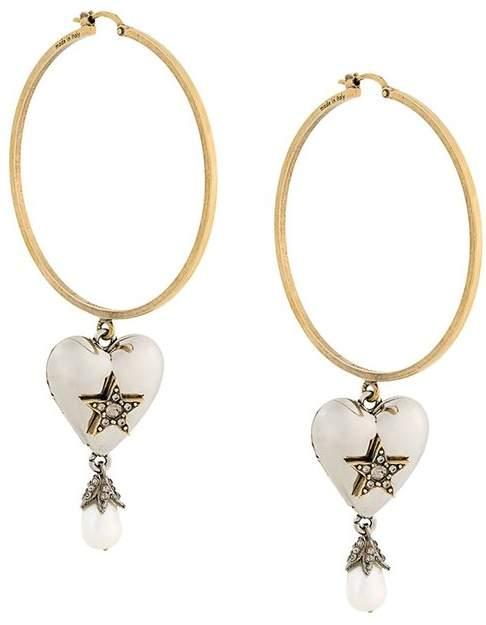 Alexander McQueen heart pearl hoop earrings