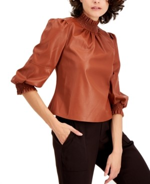 INC International Concepts Inc Petite Faux-Leather Mock-Neck Top, Created for Macy's