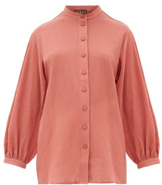 ALBUS LUMEN Levitas Balloon-sleeve Cotton Shirt - Womens - Pink