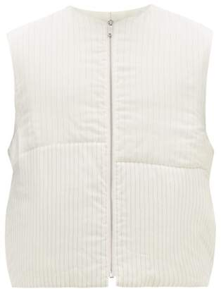 Jil Sander Panelled Pinstriped Satin Gilet - Mens - White