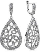 FINE JEWELRY Diamond Glamour Diamond- and Crystal-Accent Sterling Silver Pear-Shaped Drop Earrings