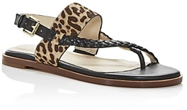 Cole Haan Women's Anica Leopard Print Calf Hair Slingback Thong Sandals