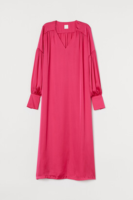 H&M Balloon-sleeved satin dress