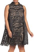 Vince Camuto Geo Burnout Trapeze Dress (Plus Size)