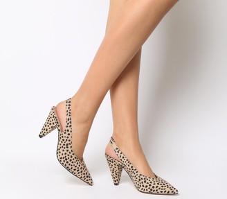 Office Mena Slingback Cone Heels Cheetah Floc Suede