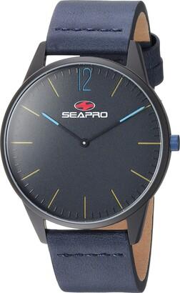 Seapro Men's Black Hole Stainless Steel Quartz Leather Calfskin Strap Blue 20 Casual Watch (Model: SP0103)