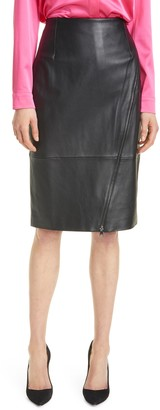 HUGO BOSS Serasa Lambskin Leather Pencil Skirt