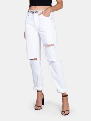 Neon Blonde Lazy Lover Straight Leg Jean