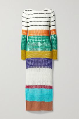 Missoni Striped Crochet-knit Maxi Dress - White